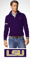 LSU Tigers Polo Ralph Lauren French Rib HalfZip Fleece