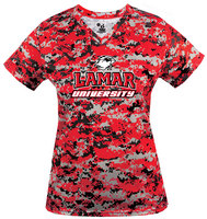 Badger Sports Digital Camo Ladies VNeck Performance Tee