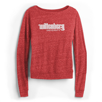 Red Shirt Draped Long Sleeve Crew