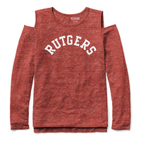 Red Shirt Athleisure Cold Shoulder Long Sleeve T Shirt