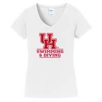 Swimming Short Sleeve Vneck Womens Tee (Online Only)