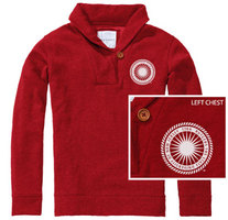 Red Shirt Womens Shawl Collar Pullover