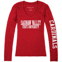 Red Shirt Womens VNeck Long Sleeve TShirt