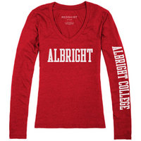 Red Shirt Womens VNeck Long Sleeve Tee