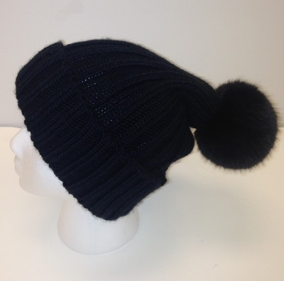 Knit Hat & Faux Fur Pom  Black