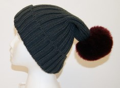 Knit Hat & Faux Fur Pom  GreyBurgundy