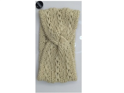 Solid Knitted Head Wrap  Ivory