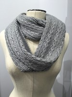Solid Knitted Eternity Scarf  Grey