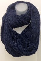 Solid Knitted Eternity Scarf  Navy