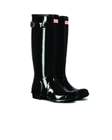 Hunter Boots Original Tall Gloss Boot in Black, Size 7