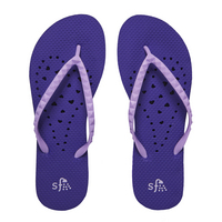 Showaflops Purple Elongated Heart Flip Flops  Medium