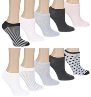 Capelli Dot and Stripes Mix 10 Pack No Show Socks