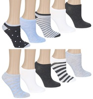 Dots & Stripes 10 Pack No Show Socks