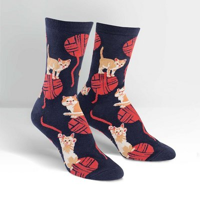 Sock It To Me Kitten Knitten Crew Socks