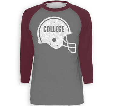 RUBYS RUBBISH College Football, Raglan Tee