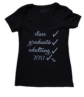 Womens Fit Black V Neck Graduation 2017 T Shirt by FTA