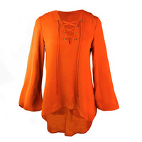 GAMEDAY COUTURE ALL LACED UP FLOWY LACE UP TOP