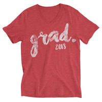 Rubys Rubbish  Grad 2018 V Neck Tee (Red Graphic)