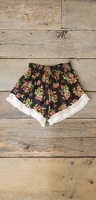 Natural Life Lounge Shorts Small Black Blooms