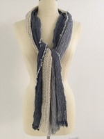 Denim Oblong with Crochet Center and Fray Ends Scarf