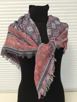 Geo Aztec Oblong with Fray BlueMaroon Scarf