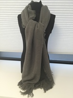 Gray Oblong with Fray Scarf