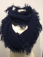 Navy Oblong with Fray Edge Scarf