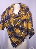 Fantasia Plaid Square with Fray  Yellow