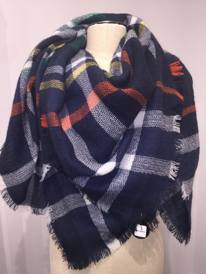 Fantasia Plaid Square with Fray  Navy Red