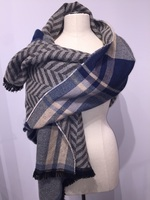 Fantasia Plaid with Fray  Navy Gray