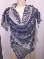 BLUE LACE OVERLAY SQUARE WITH FRAY SCARF