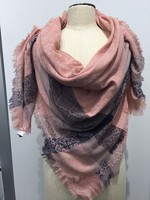 BLUSH FLORALGEO BOARDER WITH FRAY SCARF