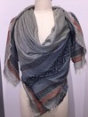 OLIVE SQUARE with GEO ENDS AND FRAY SCARF