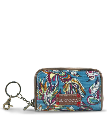 Sakroots Zip ID Case (Teal Treehouse)