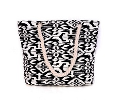 Black and White Aztec Printed Canvas Tote