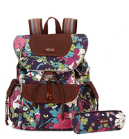 Sakroots Flap Backpack (Violet Flower Power)