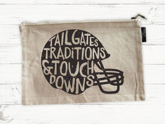 Football Helmet, Natural Canvas, Pencil Pouch