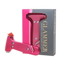 Blingsting Glammer Pink Emergency Escape Hammer for the Car, Visor Strap Included