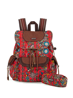 Sakroots Flap Backpack (Cherry Spirit Desert)