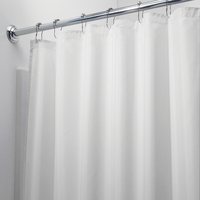Water Repellent Fabric Shower Curtain, White