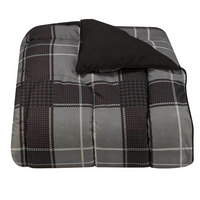 Reversible Hampton Plaid Comforter, Black