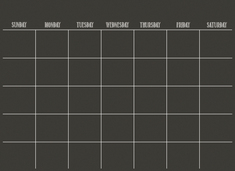 Monthly Calendar Decal, Black