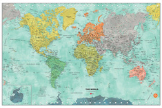 WallPops Dry Erase World Map, Aquarelle