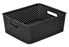 Wicker Medium Storage Tote, Black
