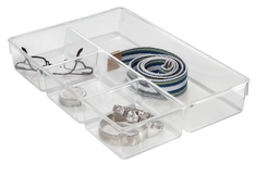 Linus 4 Section Dresser Organizer, Clear