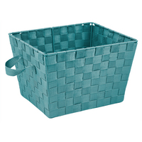 Large Woven Strap Tote, Turquoise
