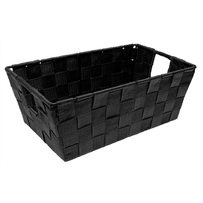 Woven Strap Shelf Tote, Black