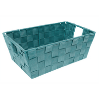 Woven Strap Shelf Tote, Turquoise