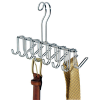 Classico Closet Organizer Rack for Ties, Belts, 14 Hooks, Chrome
