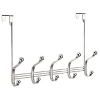 York Lyra Over the Door 5 Hook Rack, Chrome